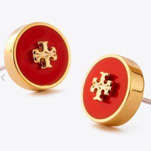 🔥Tory Burch Enamel logo round earrings